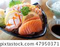 Salmon sashimi in serve plate. 47950371