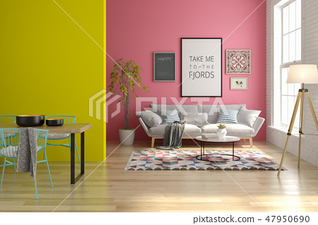 Interior of modern living room with sofa and furniture 3D rendering 47950690