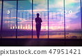 Silhouette of business woman and stock exchange infographics 47951421