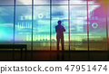 Silhouette of a trader in the office before infographics 47951474