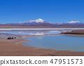 Camping vehicles standing by the Lagoon Laguna Brava, near Paso Pircas Negras mountain pass 47951573