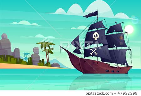 Vector cartoon pirate ship in bay, island 47952599