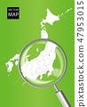日本地图(绿色):用放大镜放大的关东光信越地区地图|日本群岛矢量数据 47953015