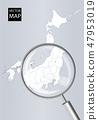 日本地图(灰色):用放大镜放大的Kanto-Koushin'etsu地区地图|日本群岛矢量数据 47953019