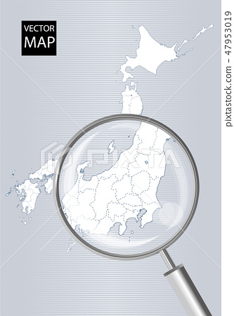 Map of Japan (gray): Map of Kanto-Koushin'etsu area enlarged with magnifying glasses | Japan Archipelago Vector Data 47953019