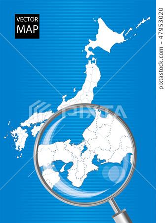 일본지도 (파란색) : 돋보기로 확대 된 동해 · 간사이의지도 | 일본 열도 벡터 데이터 47953020