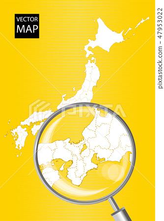 일본지도 (노란색) : 돋보기로 확대 된 동해 · 간사이의지도 | 일본 열도 벡터 데이터 47953022