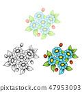 Daisy five flowers bouquet 47953093