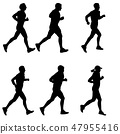 Set of silhouettes. Runners on sprint, men 47955416