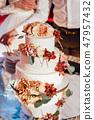 Beautiful delicious white wedding cake. Wedding day 47957432