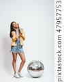 ball, female, headphone 47957753