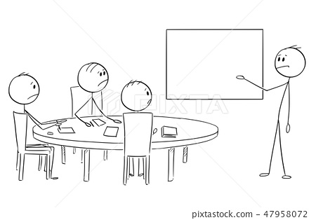 Cartoon of Businessman Presenting Empty Table on Business or Work Meeting 47958072
