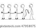 Cartoon of Line of Slaves Walking in Chains and Slave Master With Whip 47958075