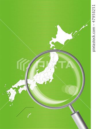 일본지도 (녹색) : 돋보기로 확대 된 관동 동북 지방의지도 | 일본 열도 벡터 데이터 47958251