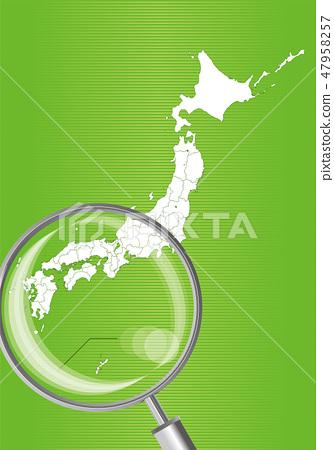 일본지도 (녹색) : 돋보기로 확대 된 서일본 간사이 시코쿠 규슈의지도 | 일본 열도 벡터 데이터 47958257