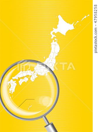 일본지도 (노란색) : 돋보기로 확대 된 서일본 간사이 시코쿠 규슈의지도 | 일본 열도 벡터 데이터 47958258