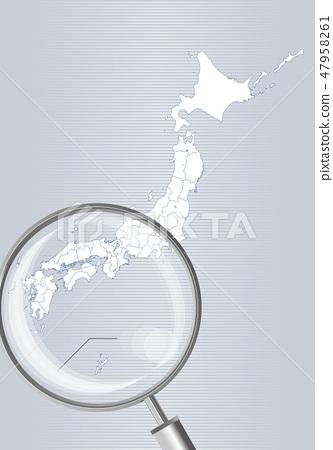 일본지도 (회색) : 돋보기로 확대 된 서일본 간사이 시코쿠 규슈의지도   일본 열도 벡터 데이터 47958261