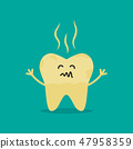 Unhealthy Tooth. cartoon rotten tooth character. 47958359