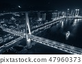 Chongqing bridge night aerial 47960373