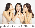 Three women telling whispering and secret gossip 47968734