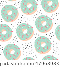 Sweet cartoon colorful donuts seamless pattern 47968983