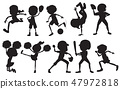 Set of silhouette sport athlete character 47972818