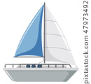 A simple sailboat on white background 47973492