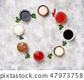 Ketchup, mayonnaise, mustard, soy sauce and tartar 47973758