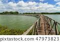 Wooden bridge across reservoir. 47973823