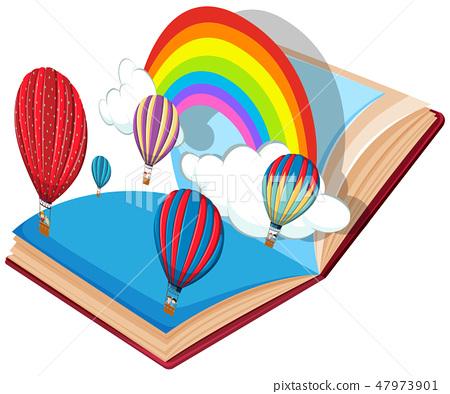Open book  hot air balloon theme 47973901