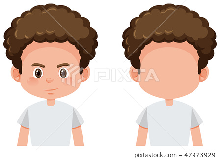 Set of curly boy character 47973929