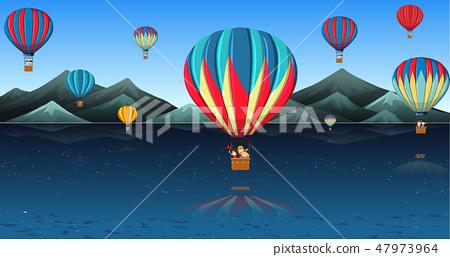 Children riding hot air balloon 47973964