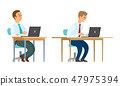 Worker Sitting, Office Employees with Laptops 47975394