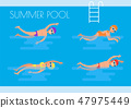 Summer Pool Swimmers Poster Vector Illustration 47975449