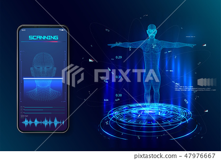 Robot. Artificial intelligence. Biometric   47976667