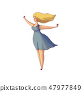 Beautiful blonde woman standing with arms wide open, blue dress and hair blowing in the wind. Hand 47977849