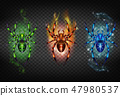 Toxic, igniting and freezing spiders vector set 47980537