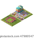 Shopping center and stadium isometric vector 47980547