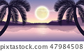beautiful lake at night with palm trees and full moon purple holiday landscape 47984508
