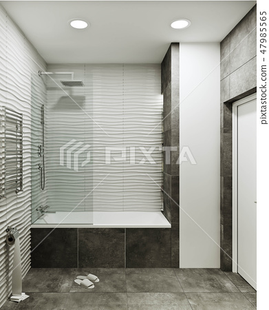 modern bathroom design with tiles under concrete a 47985565
