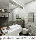 modern bathroom design with tiles under concrete a 47985569