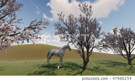 春天大農場馬例證CG珀斯4 47986254