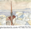 Sketch winter city. Hand drawn watercolor and line 47987076