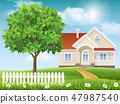 House on a hill and tree 47987540