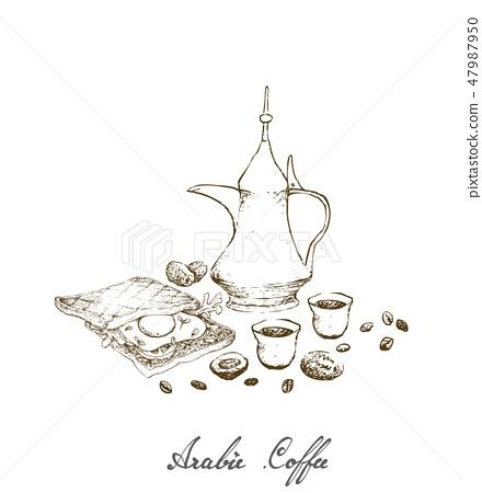 Hand Drawn of Arabic Coffee with Sandwich 47987950