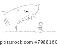 Cartoon Drawing of Man in Small Boat and Dangerous Giant Shark With Mouth Open 47988160