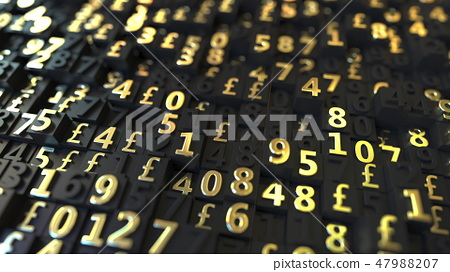 Gold Pound Sterling GBP symbols and numbers on black plates, 3D rendering 47988207
