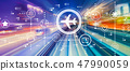 Airplane travel theme with high speed motion blur 47990059