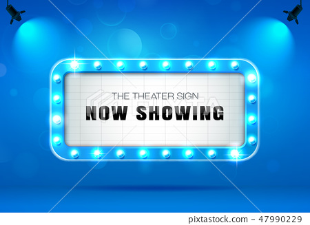 theater sign on blue curtain vector illustration 47990229