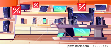 Electronics store in mall shop illustration 47990335